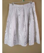 CAROLE LITTLE White Linen Full Skirt Sequence Lined Size 4 - $29.35