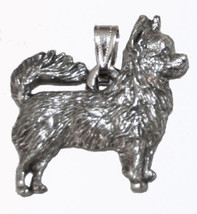Chihuahua (long hair) Pendant Dog Harris Fine Pewter Made in USA jewelry - $10.99