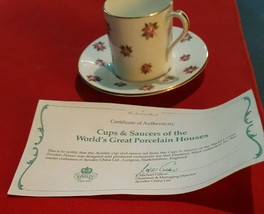 """""""Aynsley"""" Pink Rose buds Demi  Cup & Saucer for Danbury Mint,  Excellent... - $6.92"""