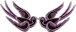 Lot of 2 bird tattoo swallow dove sparrow biker appliques iron-on patches pink - $4.94