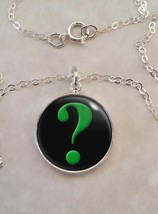 Sterling Silver 925 Necklace Green Question Mark Interrogative - £23.18 GBP+