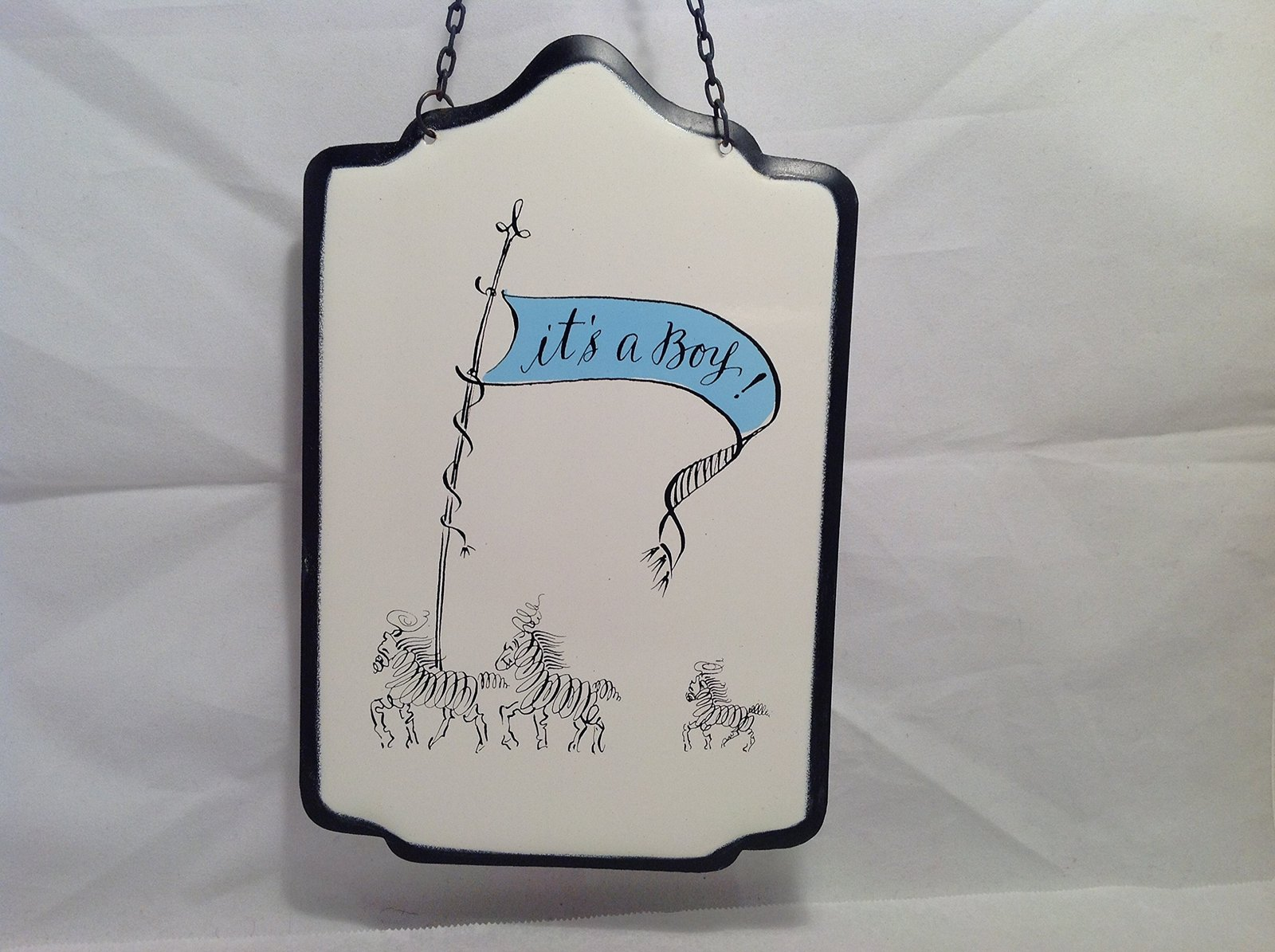 New Baby It's A Boy OR Girl Enameled Metal Wall Sign