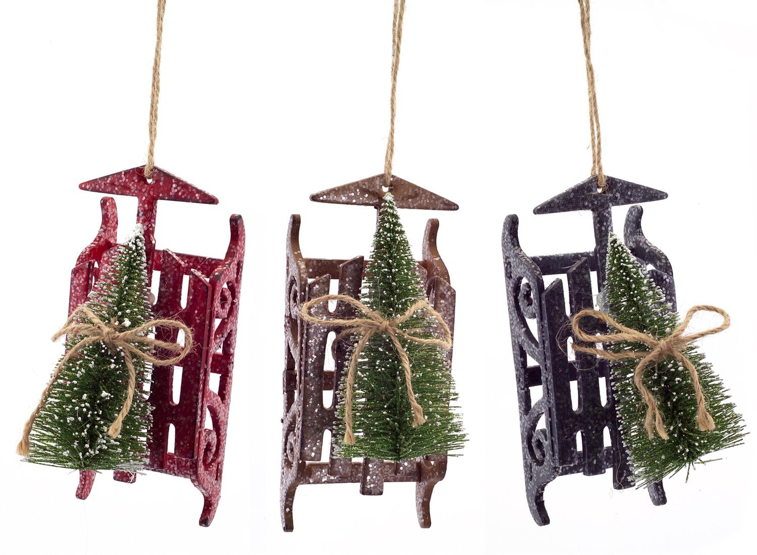 Christmas Tree Sled Ornament Set of 3