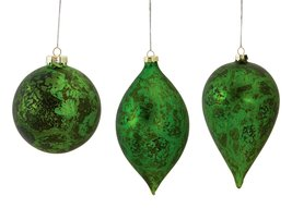 Emerald Green Glass Ornament Set of 3