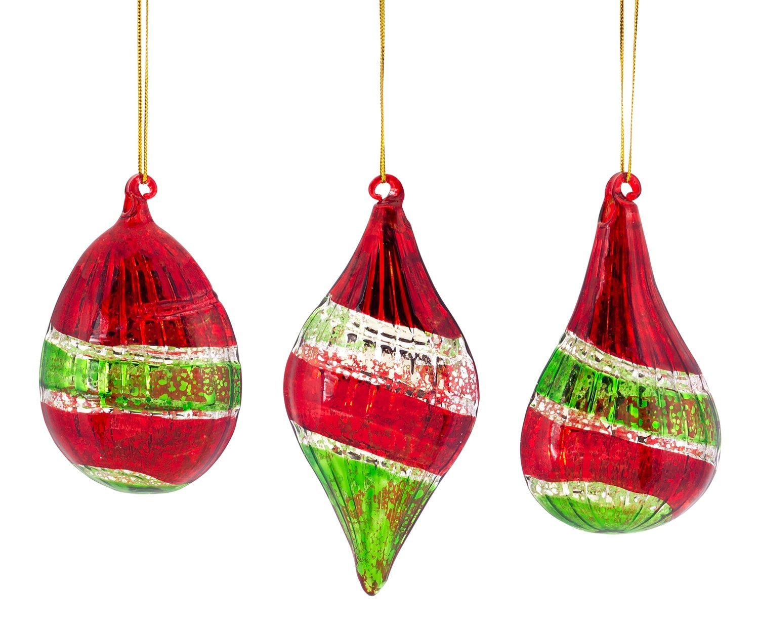Striped Red and Green Glass Ornament Set of 3