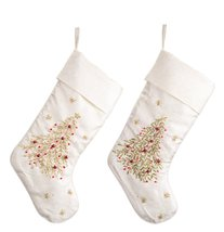 Set of Two Embroidered White Christmas Holiday Stockings