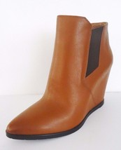 Kenneth Cole New York Sloane Ankle Bootie Wedge Leather Boots Sz 7.5 M Cognac - $98.95