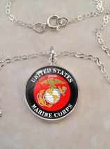 Sterling Silver 925 Necklace USMC United States Marine Corps - $30.50+