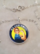 Sterling Silver 925 Necklace Rosie the Riveter We Can Do It WWII - £23.18 GBP+