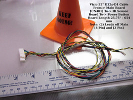 """Vizio 32"""" D32x-D1 Cable From-> Main Board [CN401] To-> IR Sensor Board To- - $10.00"""