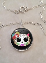 Sterling Silver 925 Necklace Kitty Cat Sugar Skull Dia De Los Muertos Ha... - $30.50+