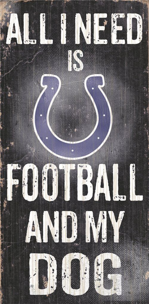 "INDIANAPOLIS COLTS FOOTBALL & my DOG WOOD SIGN & ROPE 12"" X 6""  NFL MAN CAVE!"