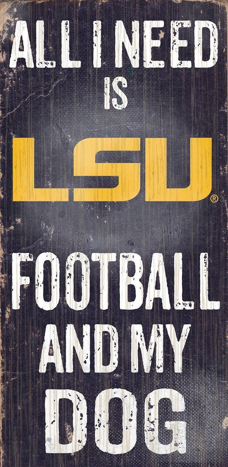 "LSU TIGERS FOOTBALL and my DOG WOOD SIGN & ROPE 12"" X 6""  MAN CAVE!"