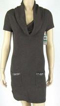 INC Brown Cowl Neck Sheath Sweater Dress Embellished Pockets Size L New ... - $29.69