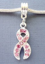 Pendant European charm bead Rhinestone Breast Cancer Awareness Pink Ribbon C26 - $3.95