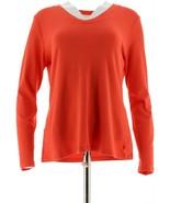 Isaac Mizrahi Essentials Long Slv Knit Top Coral Rouge L NEW A257215 - $23.74