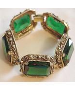 Vintage TARA Ornate Deco Bracelet Green Glass l... - $98.95