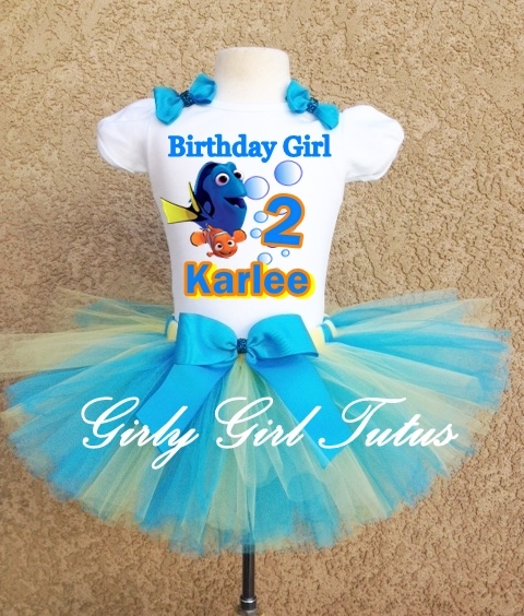Finding Dory Girls Birthday Tutu Outfit Party Dress Set