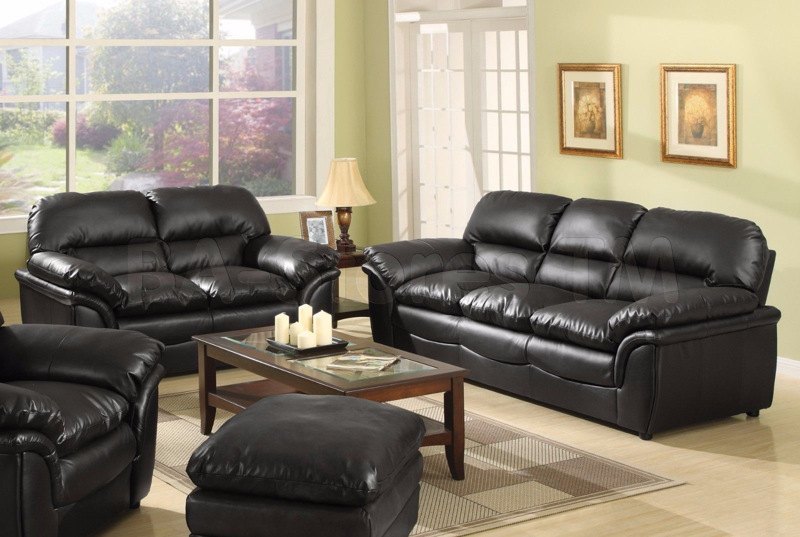 Meridian 604 Black Bonded Leather Living Room Sofa Set 2pc. Modern Style