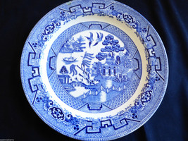 "VTG Woods Ware Wood & Sons England Cobalt Blue Willow Plate 9"" - $34.65"