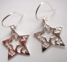 Star with Ethnic Cutout Markings Dangle Earrings 925 Sterling Silver Cor... - $16.73