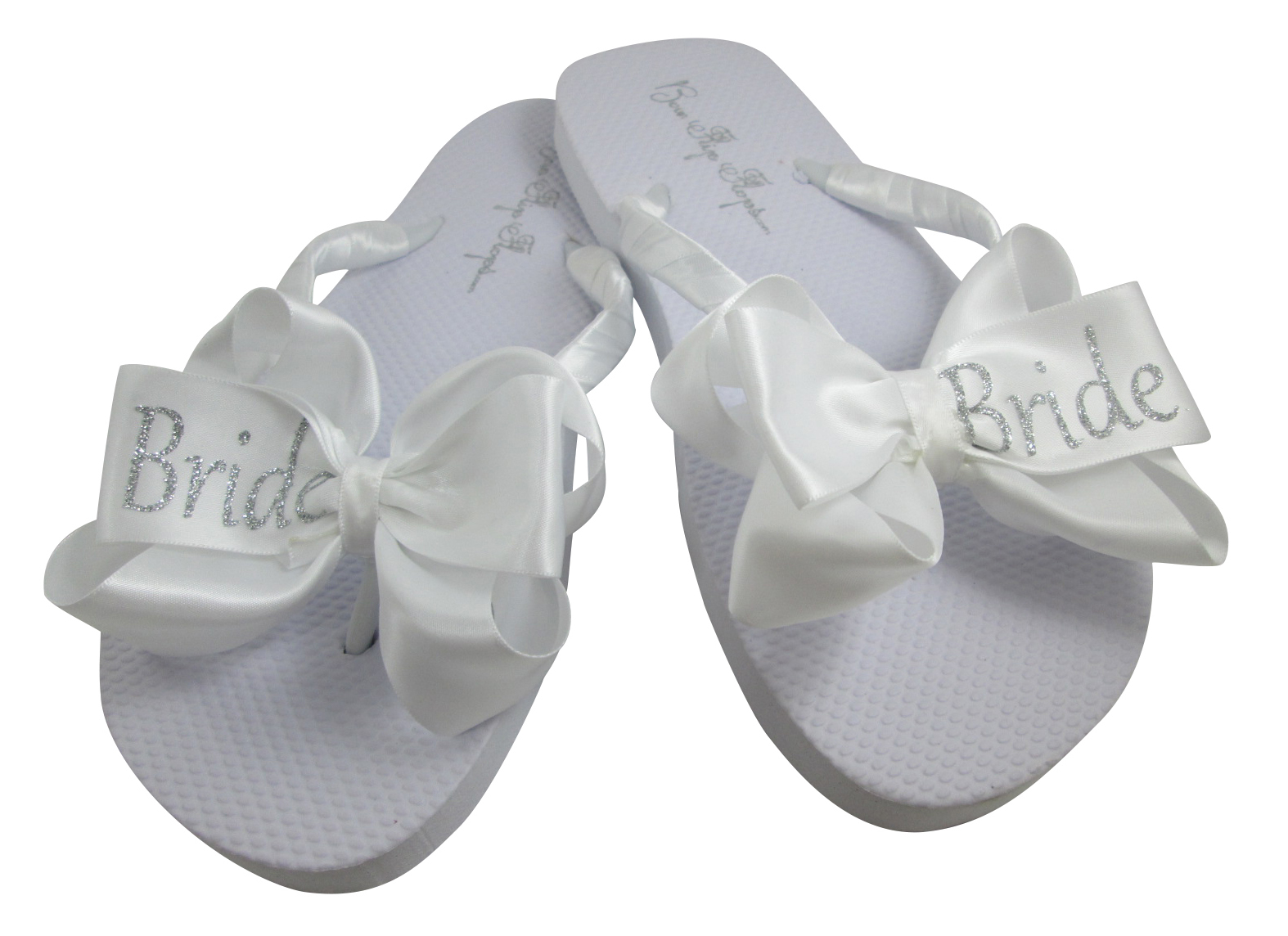 93929d210 White   Silver Bride Glitter Bow Flip Flops and 50 similar items