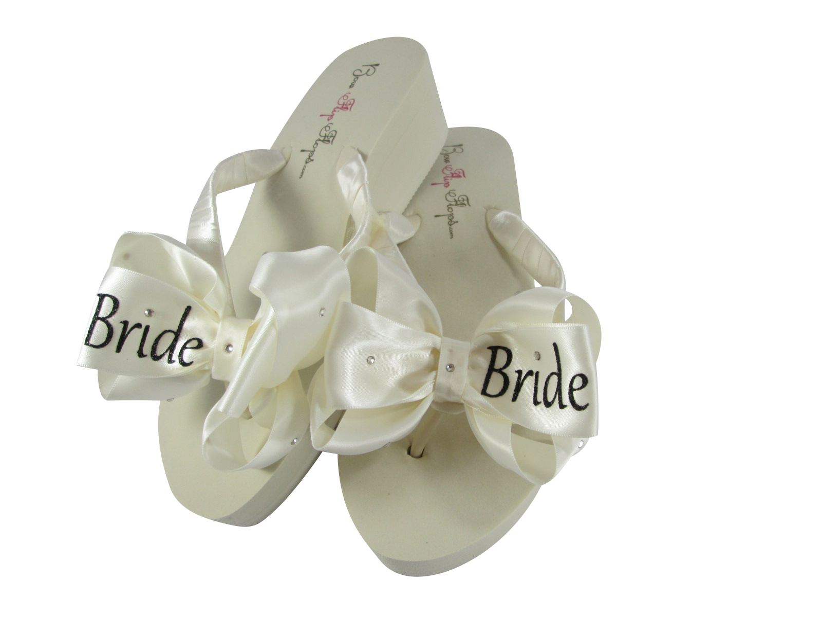 2200926823b2 White   Silver Bride Glitter Bow Flip Flops and 50 similar items
