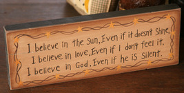 8w0012-I believe in the sun... primitive Message Solid Wood Block  - $8.95
