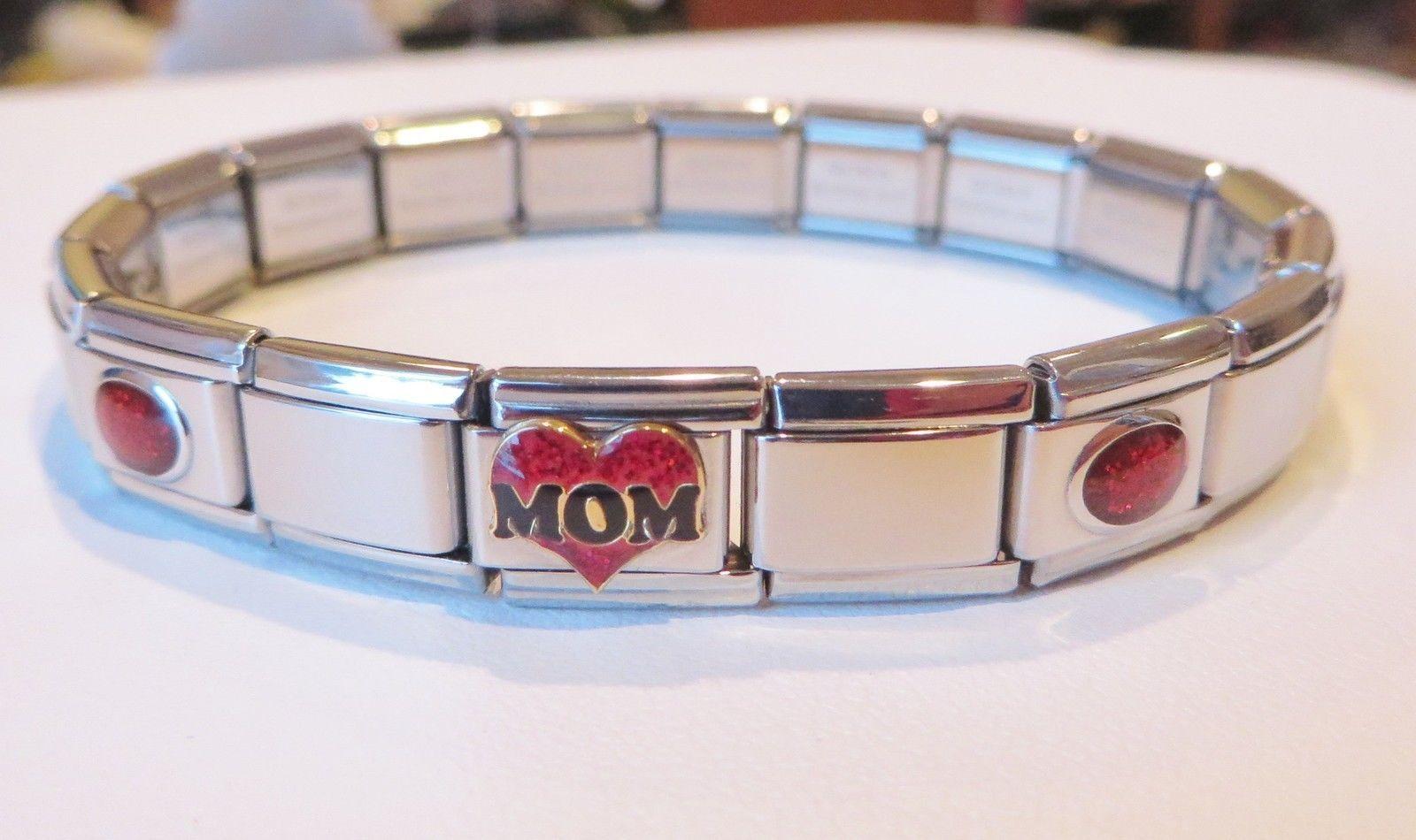 fits 9mm classic Italian charm bracelets Gold scissors on red Italian Charm