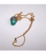 Egg Jewelry Swarovski Indicolite Crystal Finch Acorn Egg Necklace With T... - $15.00