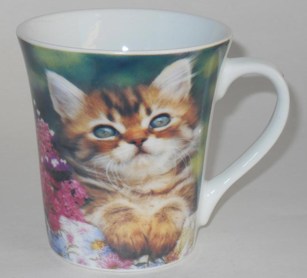 Primary image for Cat & Flower Floral - Coffee Cup Mug - Kitty Kitten