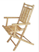 Bamboo Folding Arm Chairs Patio Deck Tiki Style Set of 2 - $166.55