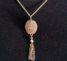 Egg Jewelry Swarovski Amethyst Crystal Finch Egg Necklace With Tassel Go... - $15.00