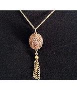 Egg Jewelry Swarovski Amethyst Crystal Finch Egg Necklace With Tassel Go... - $15.00