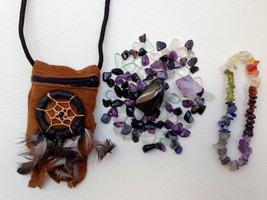 Protection Crystal Healing Indian Pouch Plus Chakra Bracelet. Full Set. (Beautif - $26.00