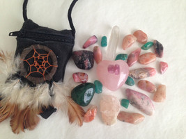 LOVE ENERGY Crystal healing Indian Pouch. Lots of Love crystals!!! - $26.00