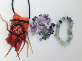 Fluorite   Amethyst Crystal Healing Indian Pouch + Fluorite Matching Bracelet! - $26.00