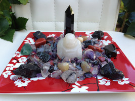 Jade Buddha Protection Crystal House Kit *Gorgeous Porcelain Red Floral Plate De - $169.00