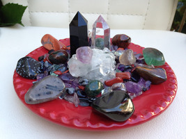 Protection Crystal House Kit *Petite Red Plate Design* With Apophyllite Cluster  - $115.00