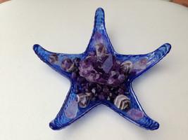 AMETHYST CRYSTAL Starfish Design Plate 100% Authentic Artisan handmade Turkish G - $69.00