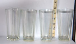 "Set of 4 Faceted Clear Glass Square Bottomed 6"" Tall Drinking Glasses - $14.85"