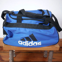 ADIDAS Black White Blue Duffle Travel Sports Gym Carry On Shoulder Bag 1... - $39.99