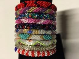 10 SET Nepal Rolls Glass Beaded bracelet crochet handmade bead bangle USA - $24.72