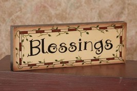 8W1225 - Blessings Block  ... primitive Message Solid Wood Block  - $8.95