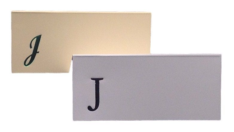 Large J - 50 Monogrammed place cards white or ivory block or script font