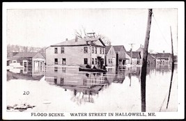 Hallowell, Maine Flood Scene on Water Street Antique B&W Postcard - $10.75