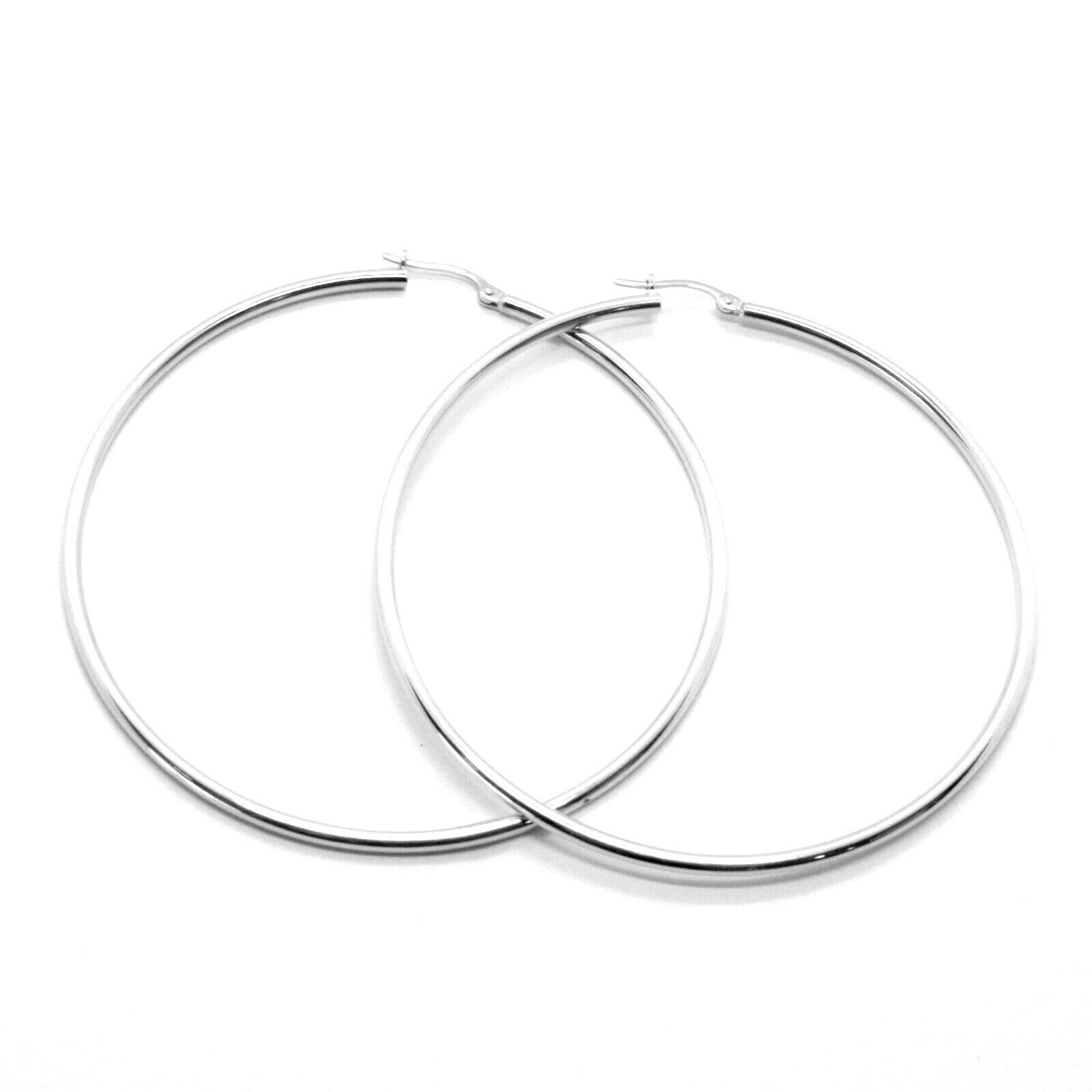 18K WHITE GOLD ROUND CIRCLE EARRINGS DIAMETER 50 MM, WIDTH 2 MM, MADE IN ITALY