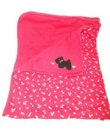 Vintage Gymboree Scottish Terrier Red Floral Baby Blanket Black Dog Cott... - $34.42