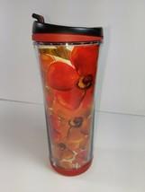 Starbucks Red Poppy Floral 16 oz Coffee Tea Plastic Tumbler Travel Mug 2... - $14.79
