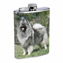Dog keeshond 1 Stainless Steel Flask 8oz Drinking Whiskey - $12.82